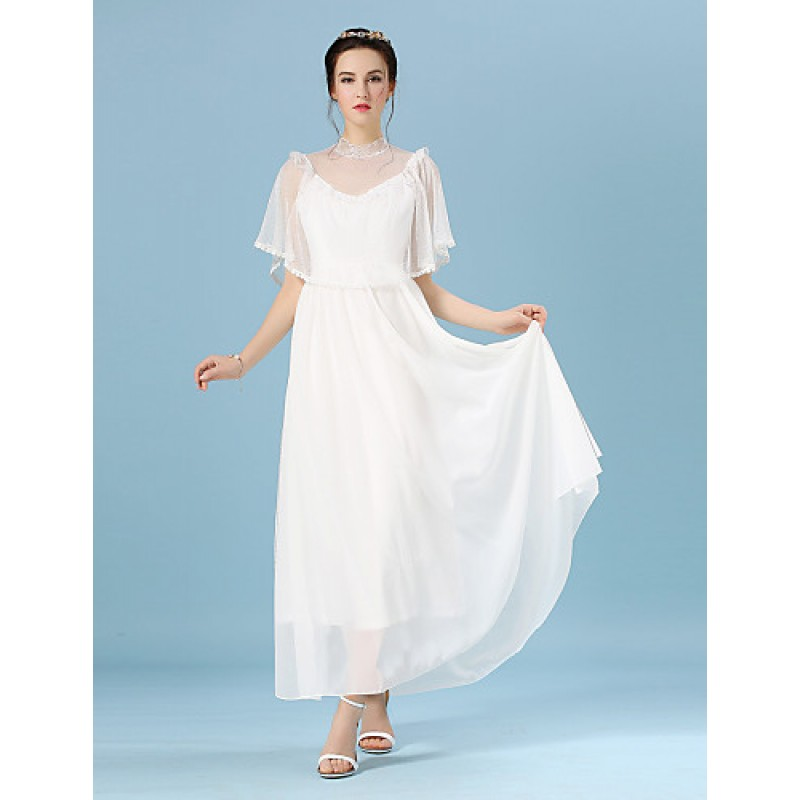 Ankle-length Chiffon / Lace / Tulle Bridesmaid Dress