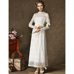 Ankle Length Lace Tulle Bridesmaid Dress White Ball Gown Jewel