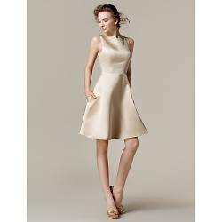 Knee-length Satin Bridesmaid Dress - Champagne Plus Sizes / Petite A-line / Princess Bateau