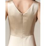 Knee-length Satin Bridesmaid Dress - Champagne Plus Sizes / Petite A-line / Princess Bateau Bridesmaid Dresses