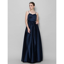 Floor Length Satin Bridesmaid Dress Dark Navy A Line Spaghetti Straps