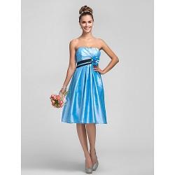 Knee Length Taffeta Bridesmaid Dress Sky Blue Plus Sizes Petite A Line Strapless