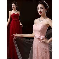 Floor-length Lace Bridesmaid Dress - Blushing Pink / Burgundy Sheath/Column Sweetheart
