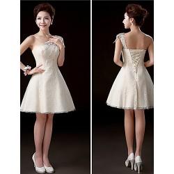Short/Mini Lace Bridesmaid Dress - Champagne A-line One Shoulder