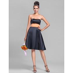 Knee-length Satin Bridesmaid Dress - Black Plus Sizes / Petite A-line Strapless