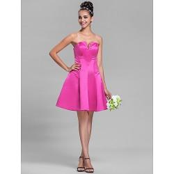 Knee-length Satin Bridesmaid Dress - Fuchsia Plus Sizes / Petite A-line V-neck