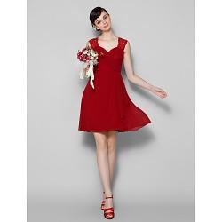 Short Mini Chiffon Lace Bridesmaid Dress Burgundy Plus Sizes Petite A Line Jewel