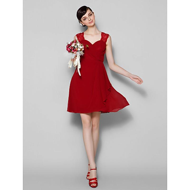 Shortmini Chiffon Lace Bridesmaid Dress Burgundy Plus Sizes Petite A Line Jewel