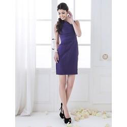 Short/Mini Taffeta Bridesmaid Dress - Regency Plus Sizes / Petite Sheath/Column Straps