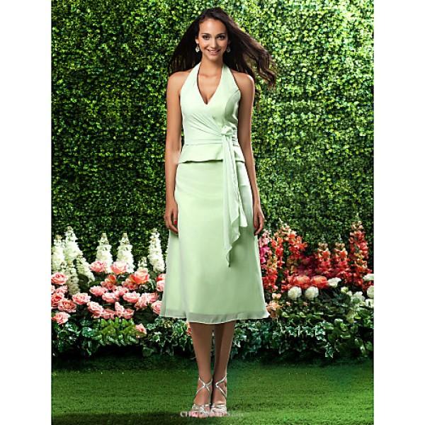 Tea-length Chiffon Bridesmaid Dress - Sage Plus Sizes / Petite A-line / Princess Halter / V-neck Bridesmaid Dresses