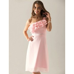 Knee-length Chiffon Bridesmaid Dress - Pearl Pink Plus Sizes / Petite Sheath/Column One Shoulder