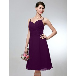 Wedding Party Dress Grape Plus Sizes Petite A Line Spaghetti Straps Knee Length Chiffon