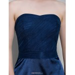 Short/Mini Tulle / Charmeuse Bridesmaid Dress - Dark Navy Sheath/Column Sweetheart Bridesmaid Dresses