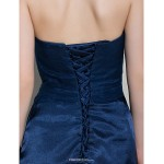Short/Mini Tulle / Charmeuse Bridesmaid Dress - Dark Navy Sheath/Column Sweetheart Bridesmaid Dresses