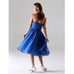 Tea-length Chiffon Bridesmaid Dress - Royal Blue Plus Sizes / Petite A-line / Princess Strapless / Sweetheart Bridesmaid Dresses