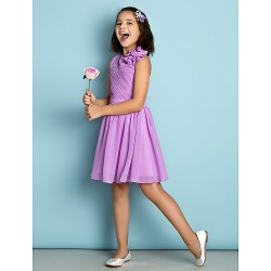 Floor Length Chiffon Junior Bridesmaid Dress Lilac A Line Jewel