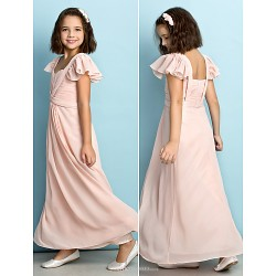 Ankle-length Chiffon Junior Bridesmaid Dress - Pearl Pink A-line Queen Anne