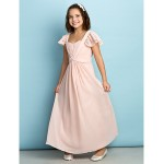 Ankle-length Chiffon Junior Bridesmaid Dress - Pearl Pink A-line Queen Anne Junior Bridesmaid Dresses