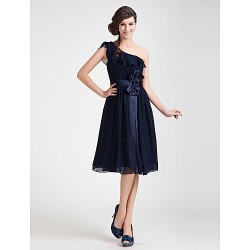 Knee-length Chiffon Bridesmaid Dress - Dark Navy Plus Sizes / Petite A-line / Princess One Shoulder