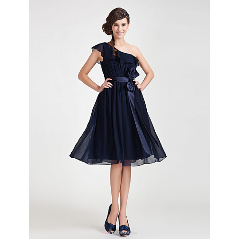 Knee length chiffon bridesmaid dress dark navy plus for Navy plus size dress for wedding