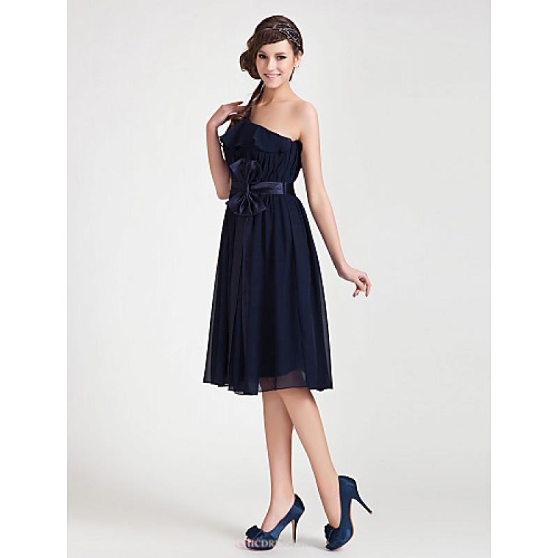 kneelength chiffon bridesmaid dress dark navy plus