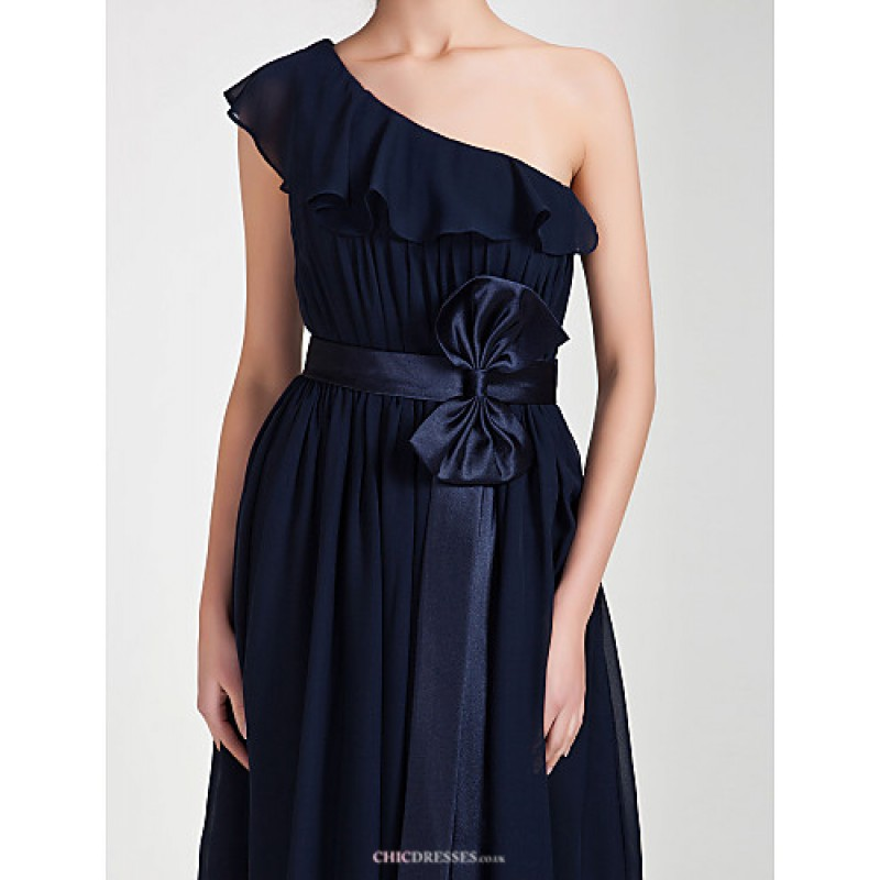 Knee Length Chiffon Bridesmaid Dress Dark Navy Plus