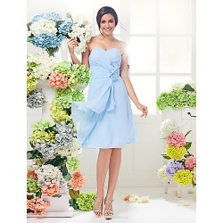 Knee Length Georgette Bridesmaid Dress Sky Blue Plus Sizes Petite A Line Sweetheart