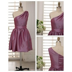 Knee Length Taffeta Bridesmaid Dress Grape A Line One Shoulder
