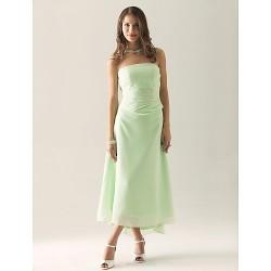 Tea-length / Asymmetrical Chiffon Bridesmaid Dress - Sage Plus Sizes / Petite Sheath/Column Strapless
