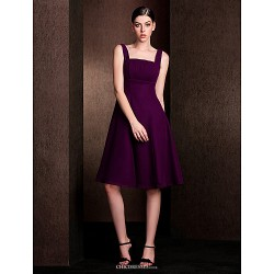 Knee Length Chiffon Stretch Satin Bridesmaid Dress Grape Plus Sizes Petite A Line Square