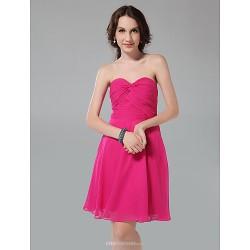 Knee-length Chiffon Bridesmaid Dress - Fuchsia Plus Sizes / Petite A-line / Princess Strapless / Sweetheart