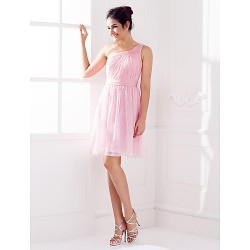 Knee-length Chiffon Bridesmaid Dress - Blushing Pink Plus Sizes / Petite A-line One Shoulder
