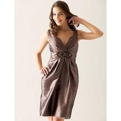 Knee Length Taffeta Bridesmaid Dress Brown Plus Sizes Petite Sheath Column V Neck