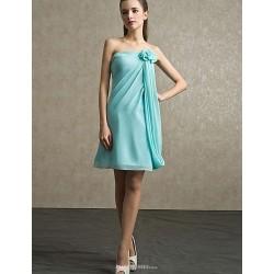 Knee Length Chiffon Bridesmaid Dress Sky Blue Sheath Column Strapless