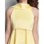 Dress - Daffodil Plus Sizes / Petite A-line High Neck Short/Mini Satin Bridesmaid Dresses