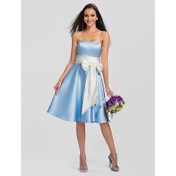 Knee Length Satin Stretch Satin Bridesmaid Dress Sky Blue Plus Sizes Petite A Line Strapless