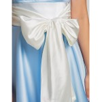 Knee-length Satin / Stretch Satin Bridesmaid Dress - Sky Blue Plus Sizes / Petite A-line Strapless Bridesmaid Dresses