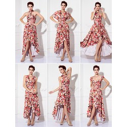 Mix&Match Convertible Dress Tea Length Knit Sheath Column Evening Dress (1912687)