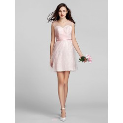 Short Mini Tulle Lace Bridesmaid Dress Blushing Pink Plus Sizes Petite A Line V Neck
