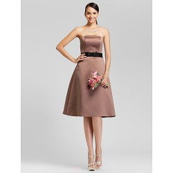 Knee Length Satin Bridesmaid Dress Brown Plus Sizes Petite A Line Princess Strapless