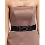 Knee-length Satin Bridesmaid Dress - Brown Plus Sizes / Petite A-line / Princess Strapless Bridesmaid Dresses