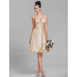 Knee-length Taffeta Bridesmaid Dress - Champagne Plus Sizes / Petite A-line Spaghetti Straps