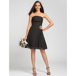 Knee Length Chiffon Bridesmaid Dress Black Plus Sizes Petite A Line Strapless