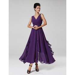 Ankle Length Chiffon Bridesmaid Dress Grape Royal Blue Ball Gown V Neck