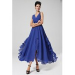 Ankle-length Chiffon Bridesmaid Dress - Grape / Royal Blue Ball Gown V-neck Bridesmaid Dresses
