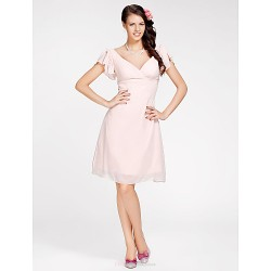 Knee-length Chiffon Bridesmaid Dress - Pearl Pink Plus Sizes / Petite A-line / Princess V-neck