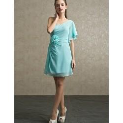 Knee Length Chiffon Bridesmaid Dress Pool Lilac Sheath Column One Shoulder