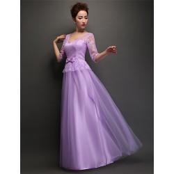 Floor Length Tulle Bridesmaid Dress Lilac Sheath Column V Neck