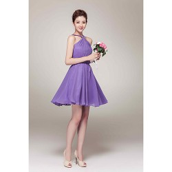Short Mini Chiffon Bridesmaid Dress Lavender A Line V Neck