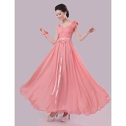 Floor-length Chiffon Bridesmaid Dress - Watermelon Sheath/Column V-neck